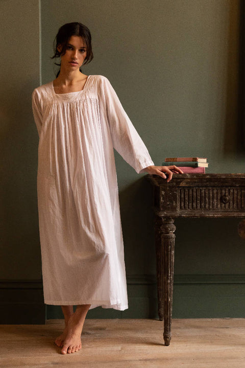 Arabella - Cotton Nightdress - White
