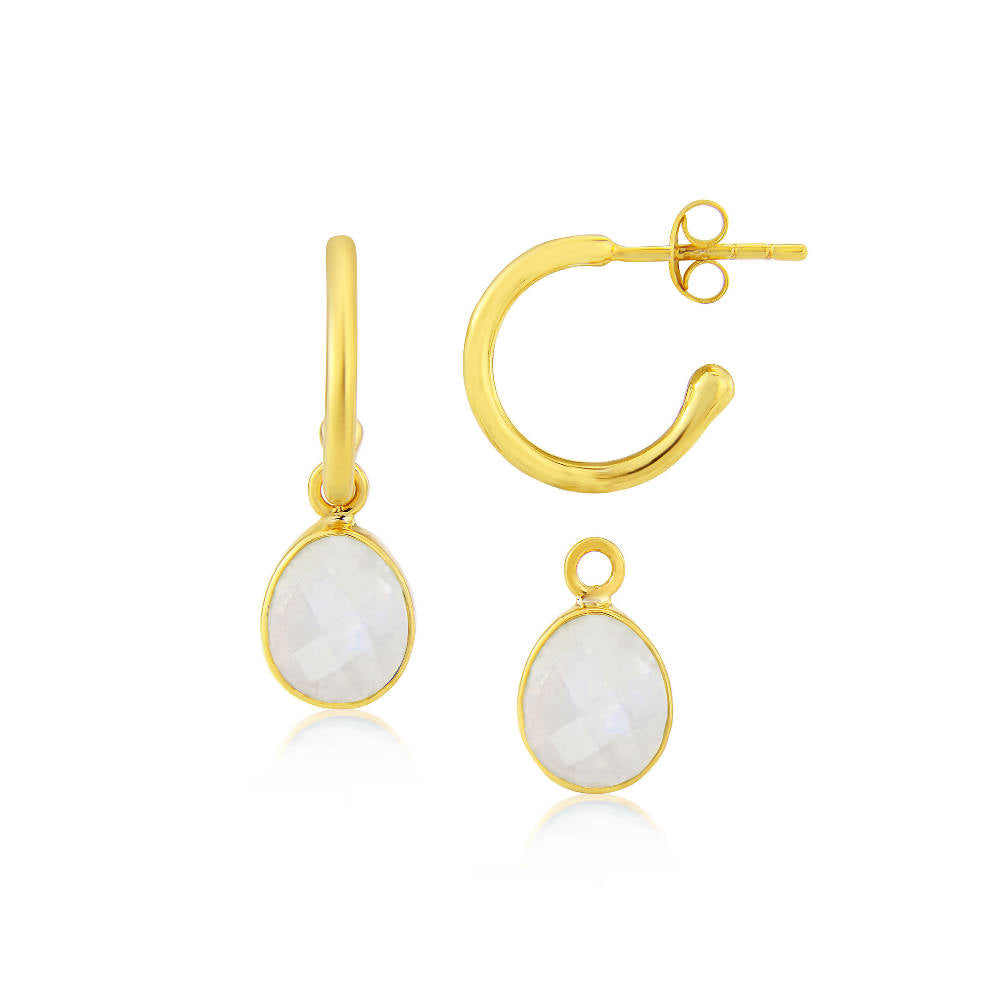 Manhattan Gold & Aqua Chalcedony Interchangeable Gemstone Earrings