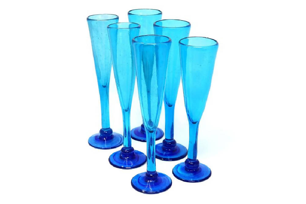 Champagne Glasses handblown from recycled glass