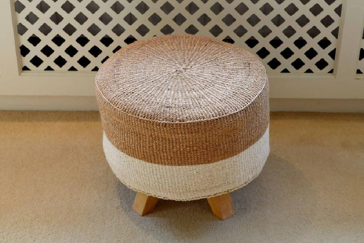 Sisal Stools, Mocha and Ivory Block, in various sizes