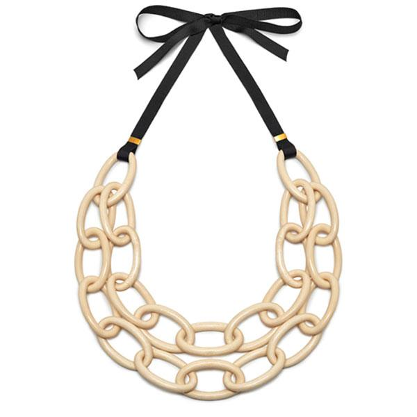 Double oval link necklace - White wood