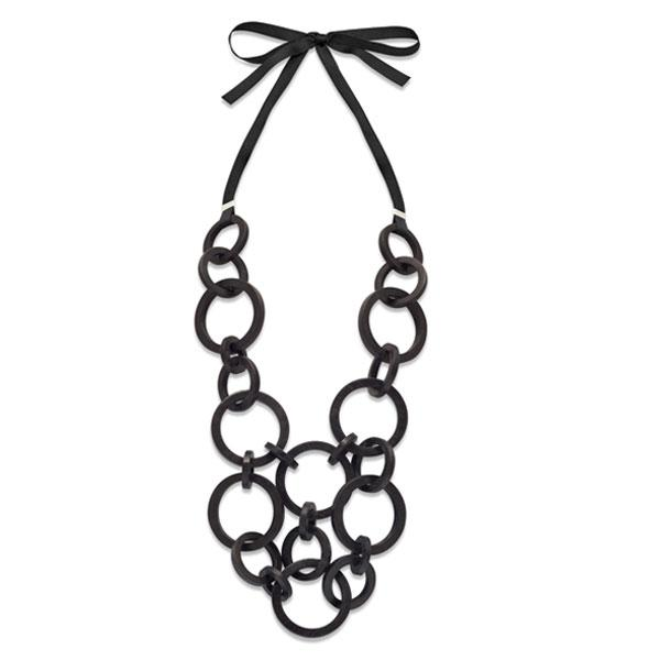 Multi round link necklace - black wood
