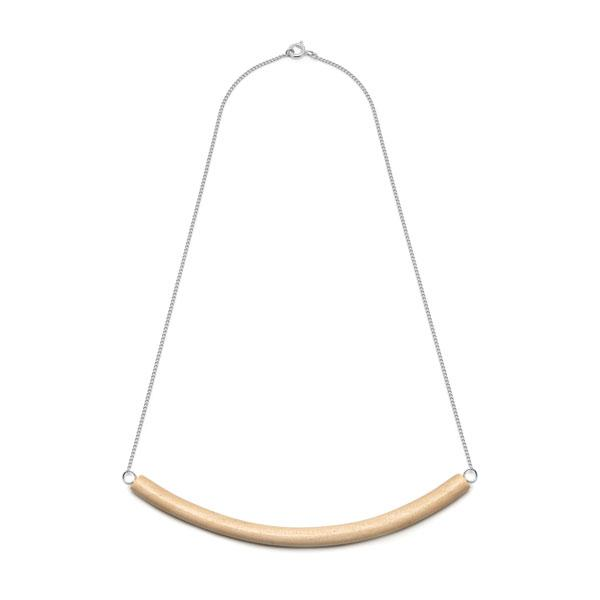 Short White wood Bar Necklace – Silver