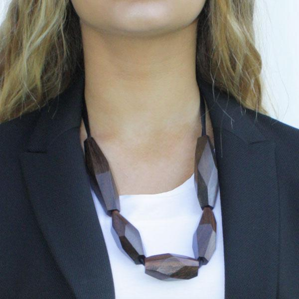 Faceted Black wood necklace