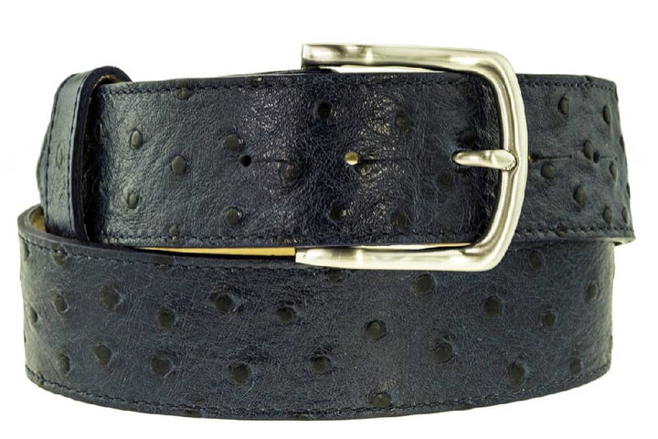 Ladies Navy Ostrich Print Leather Belt With Detachable Buckle (Width: 40mm)