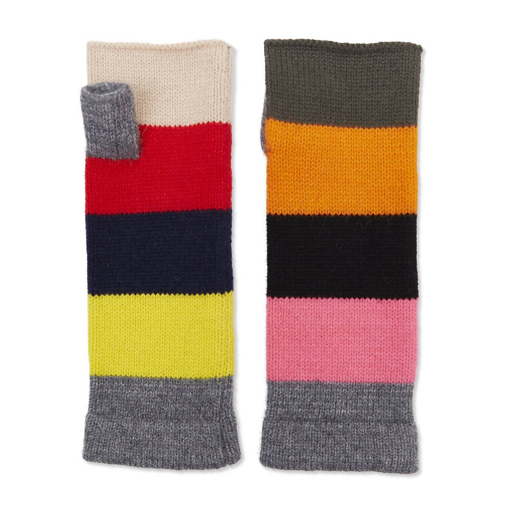 Cashmere Colour Block Wrist Warmers - Multicoloured