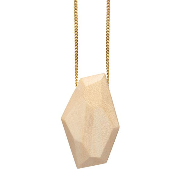 Faceted white wood bead pendant - gold