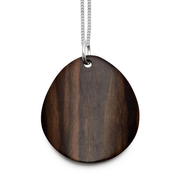 Rosewood curved oval Foli pendant – Silver