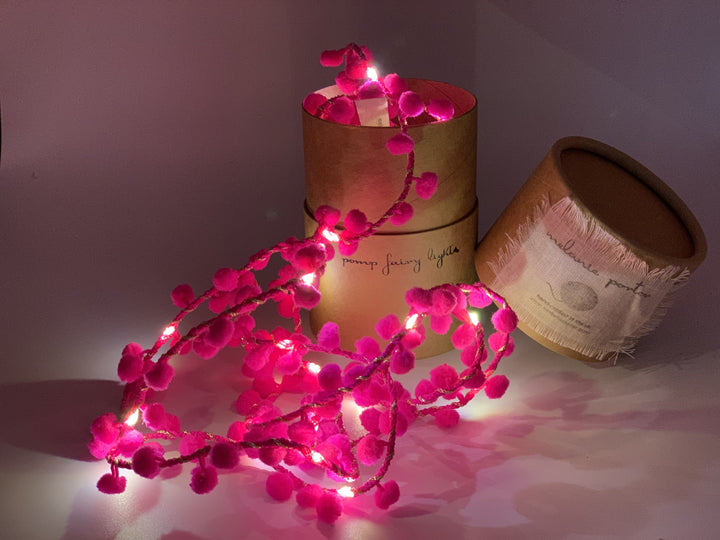 Pom Pom Fairy Lights Garland - Neon Pink EMAIL US FOR DECEMBER PRE ORDER