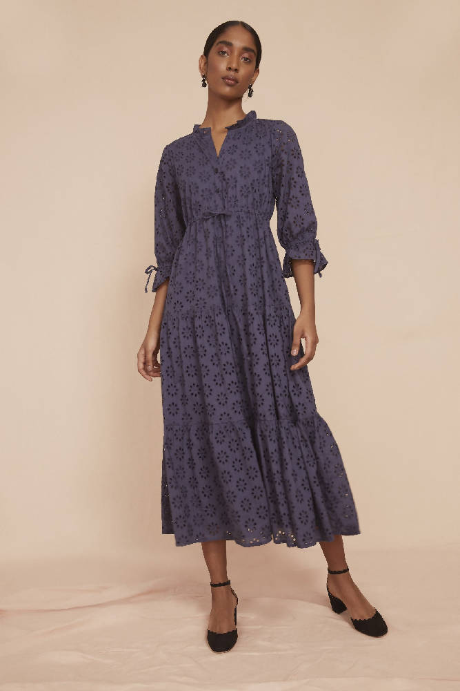 THE TIERED RUCHED DRESS | Navy Blue Broderie Anglaise