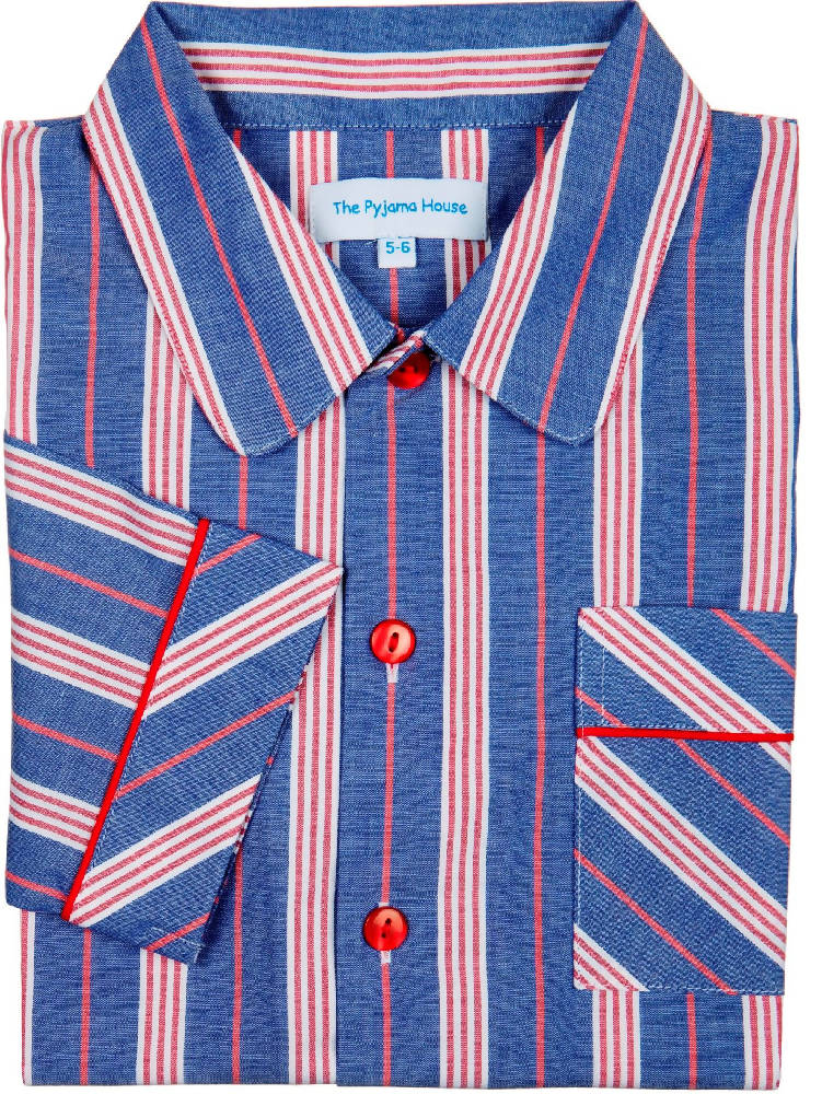 Pyjamas for Boys - Fine cotton deep blue and red stripe