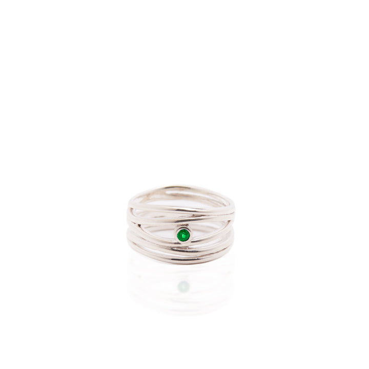 Filigree ring in Silver with Emerald