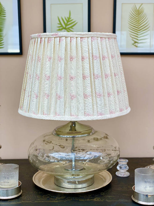 Blush bee linen lampshade 16""
