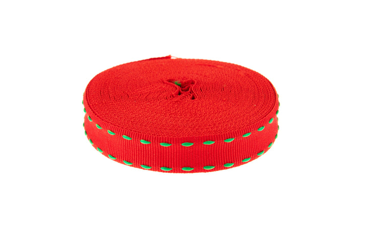 10m Roll Red Ribbon with Mint Green Stitching
