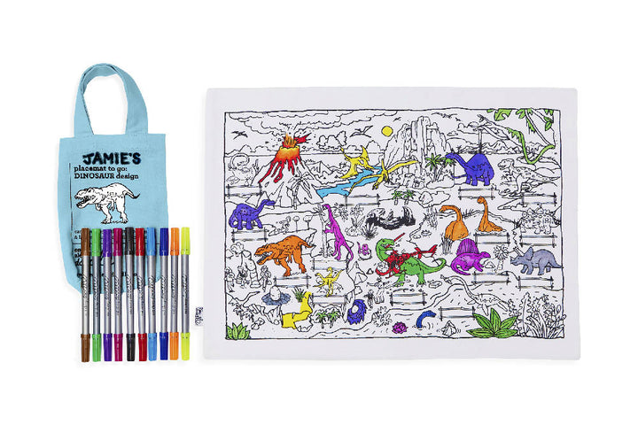 colour & learn dinosaur placemat to go
