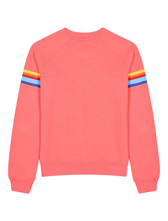 Womens Chest Stripe Sweatshirt - Coral