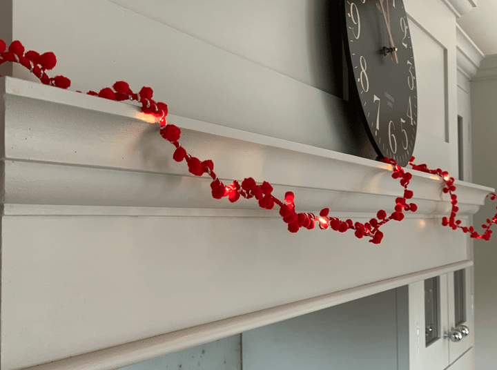 Pom Pom Fairy Lights Garland -  Red  EMAIL US FOR DECEMBER PREORDER