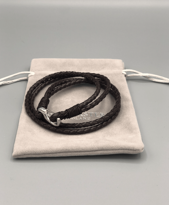 Brown Quad Wrap Leather Bracelet