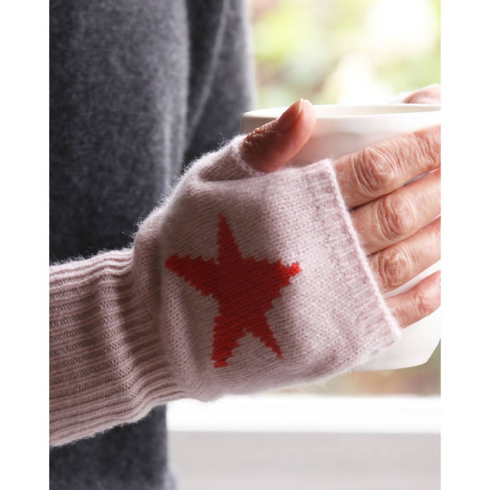 Pure Cashmere Star Intarsia Handwarmers