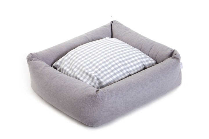 Bledington Bolster Dog Bed with Super Grrrrgeous Cotswolds Gingham Sleep Cushion