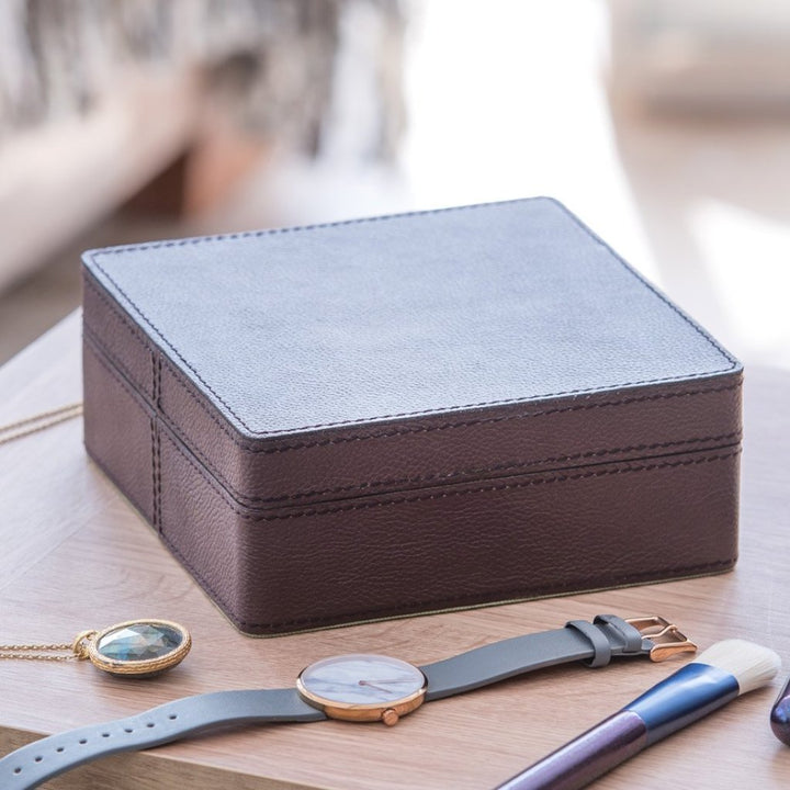 Leather Jewellery Box Square - Chocolate