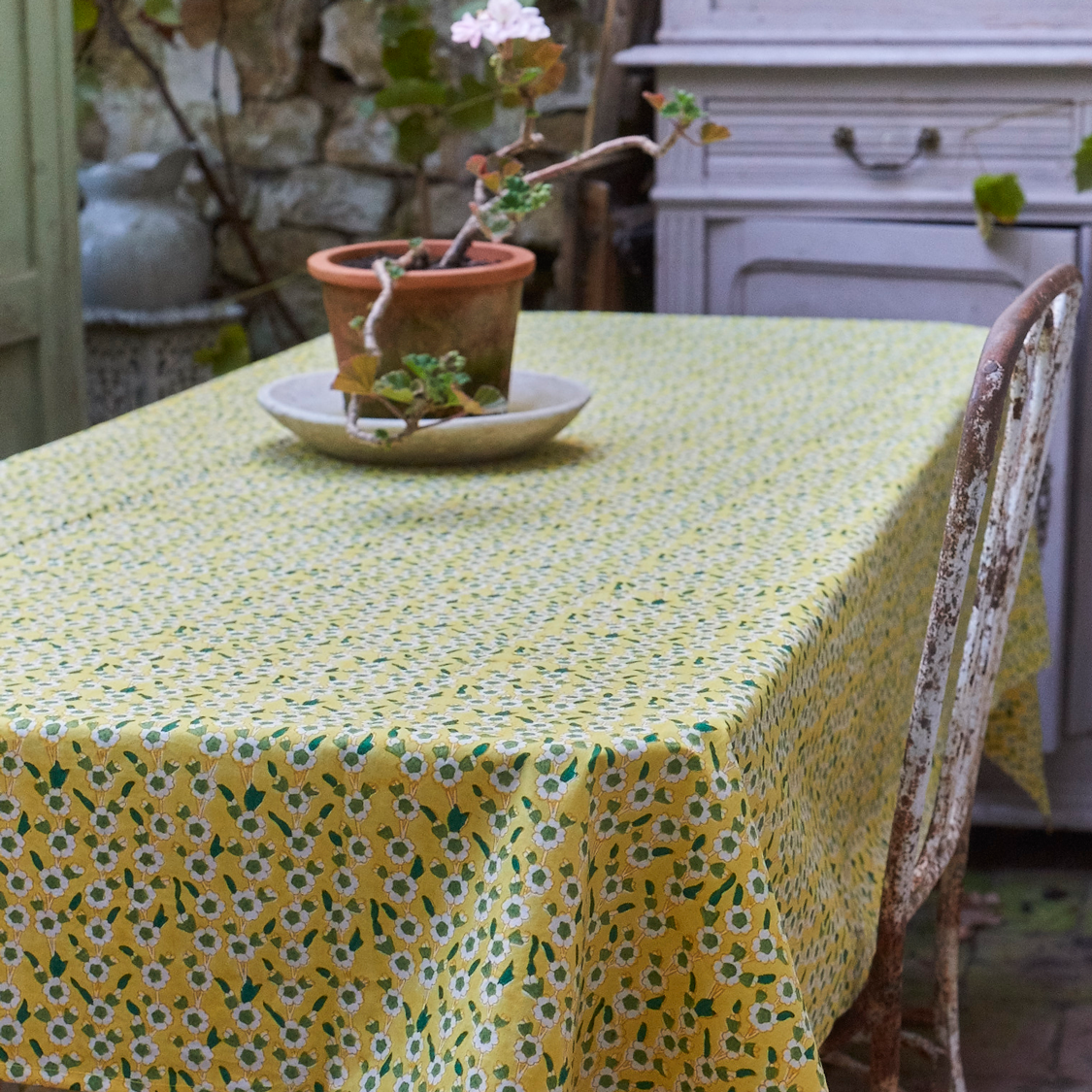 Yellow floral table cloth
