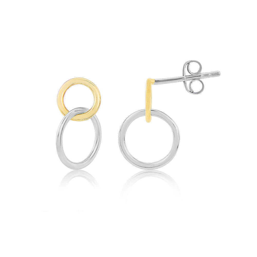 Kelso Interlinking Rings Silver and Yellow Gold Earrings