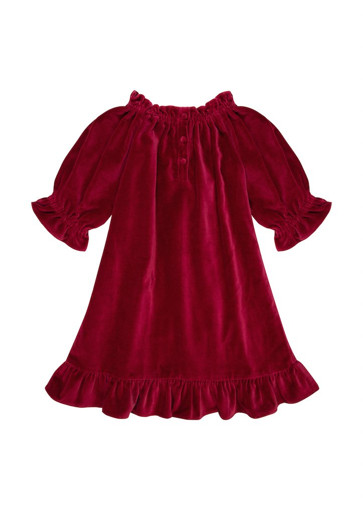 THE LITTLE CAROUSEL DRESS | Rich Red Cotton Velvet