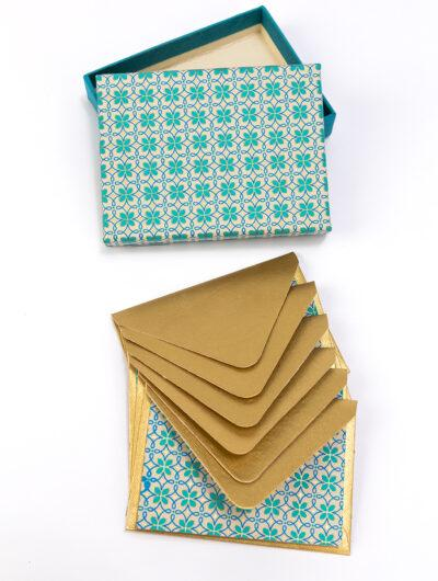 Turquoise Motif Boxed Note Cards