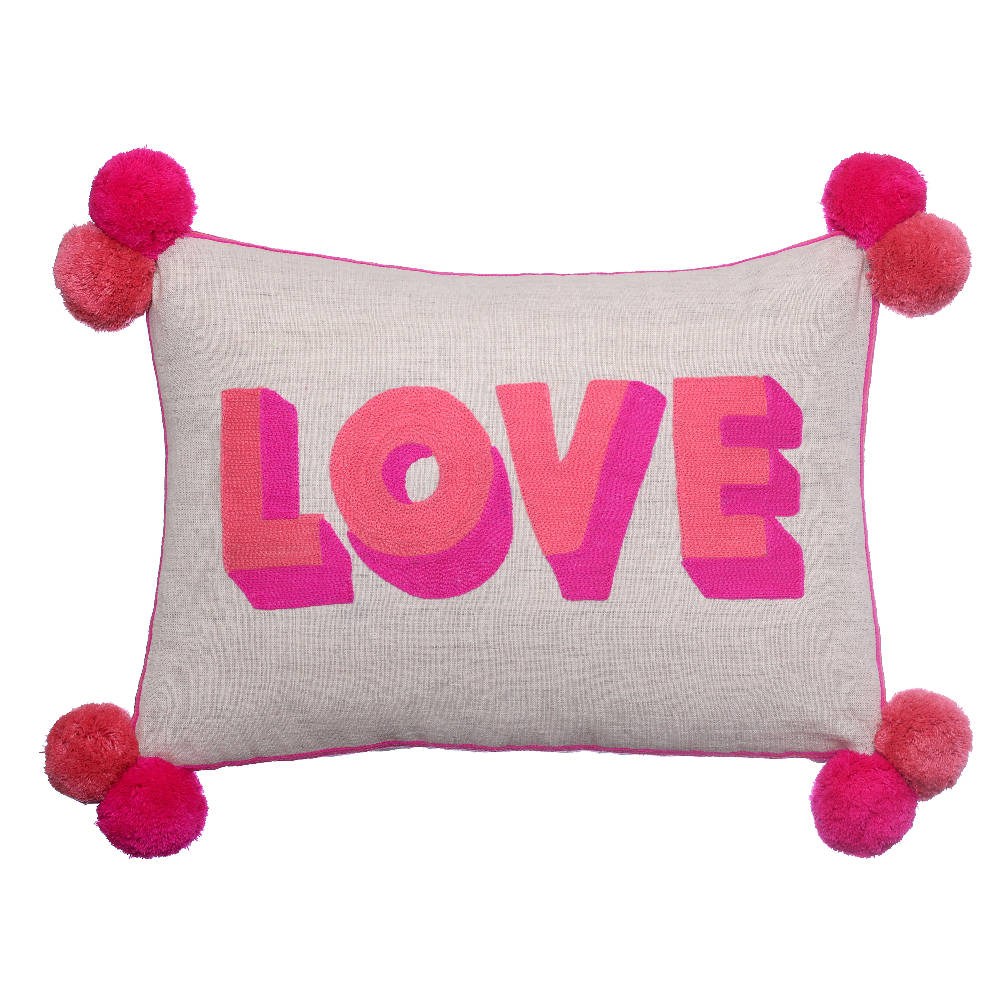 Love Pink Coral Pom Pom Cushion