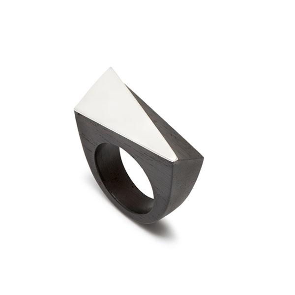 Black Wood angular ring - Silver