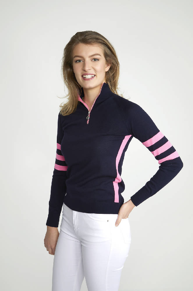 Ladies B5 Navy & Pink Zip Jumper