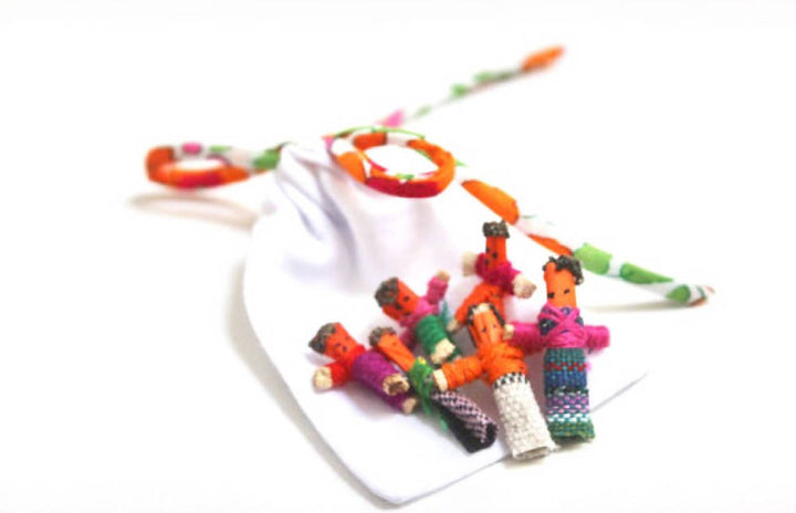 Liberty string bag with worry dolls