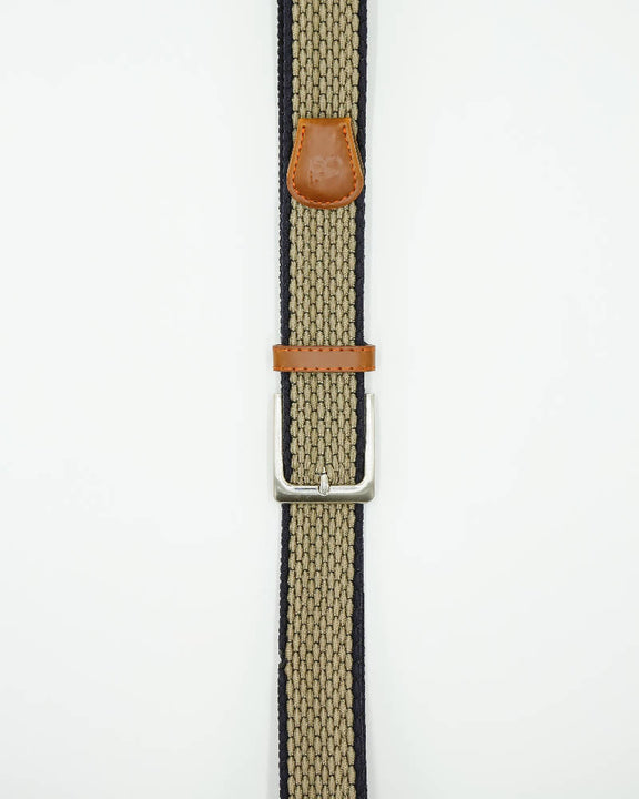 Unisex metal buckle woven polo belt. Khaki With Thin Beige Edge Design