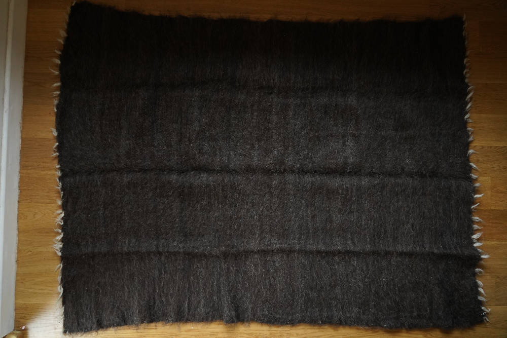 Handmade wool rug from Carpathian Mountains dark grey