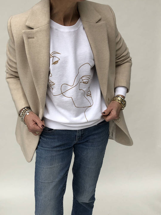 Double Face white lightweight sweatshirt in metallic gold