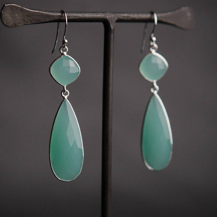 Aqua chalcedony long teardrop earrings, silver
