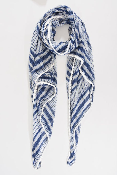 Blue and White Tie Dye Scarf
