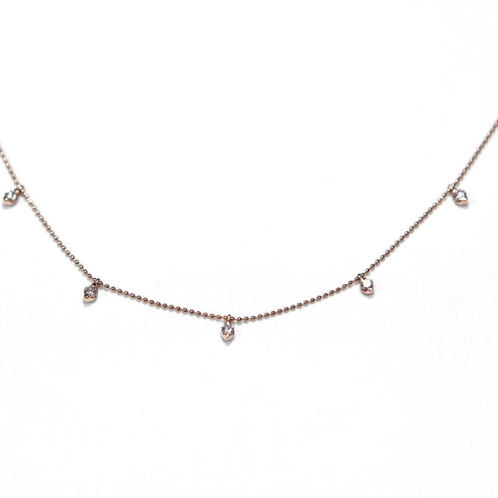 Candor 7 Diamond Necklace (18 ct Rose Gold Bead Chain)