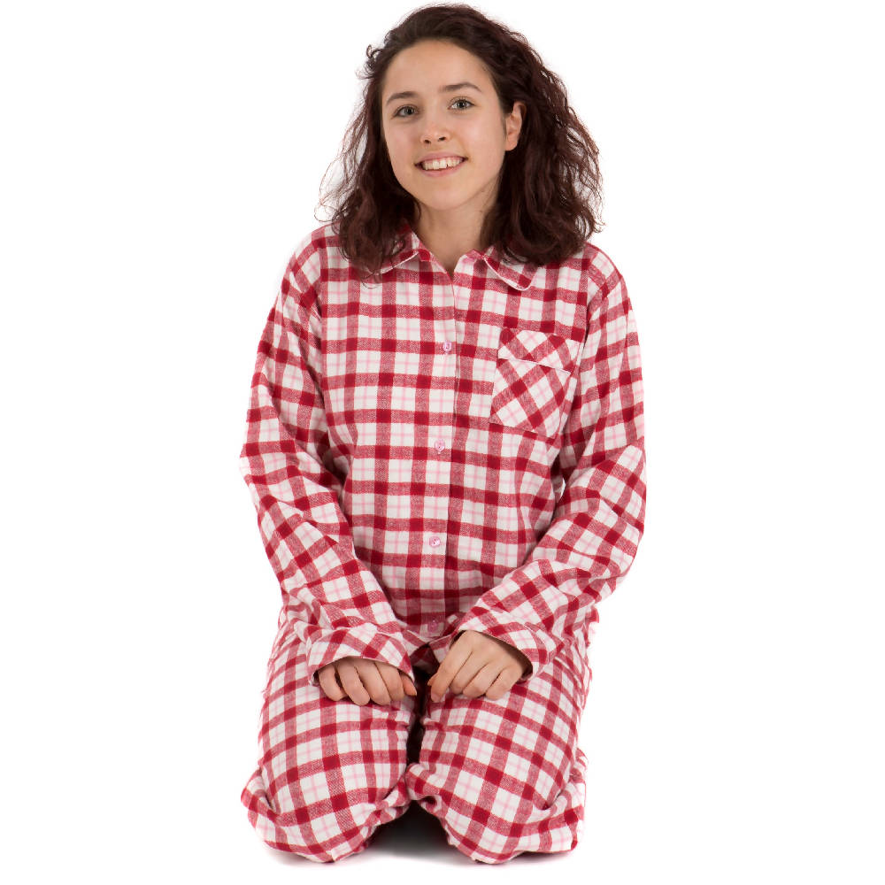 Pyjamas for Ladies - Brushed cotton red, pink and cream check