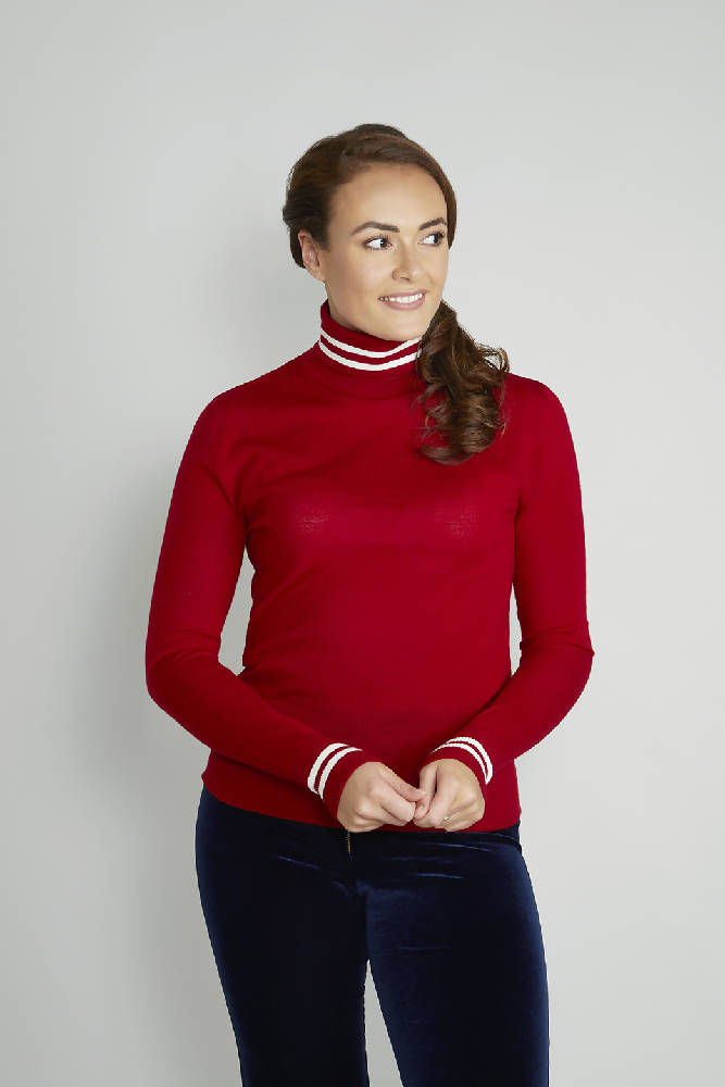 Ladies Red Roll Neck