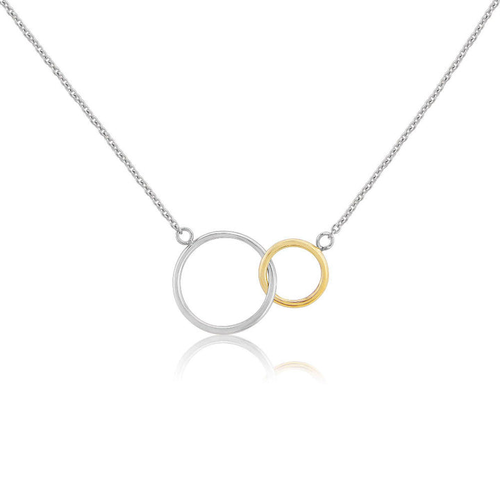 Kelso Interlinking Rings Silver and Rose Gold Necklace