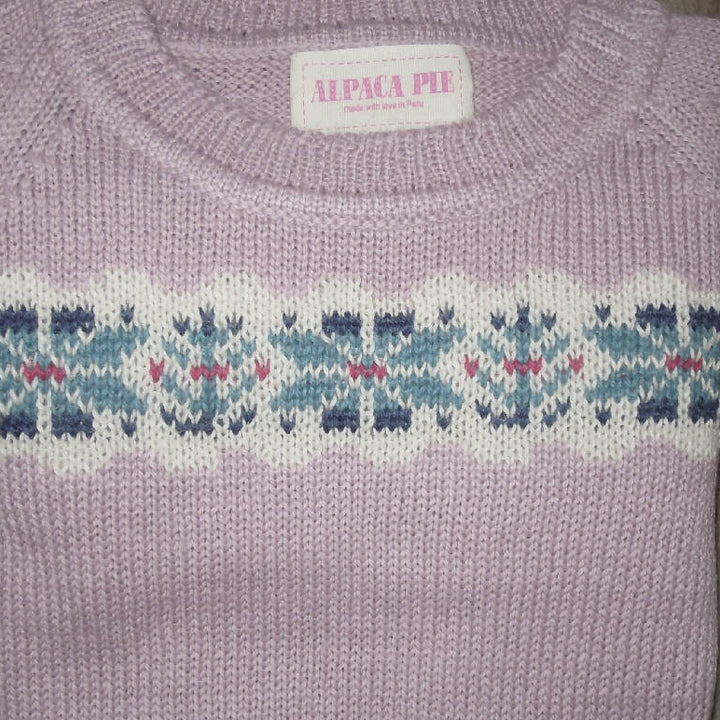 Jumper, Fair Isle Round / Crew Neck in Blush Pink