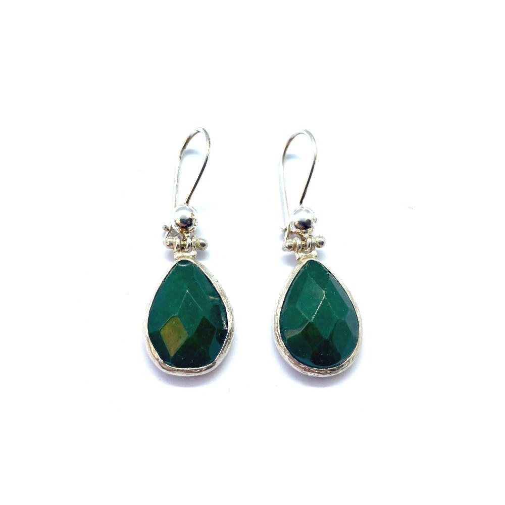 Lottie Stone Green Jade Sterling Silver Earrings