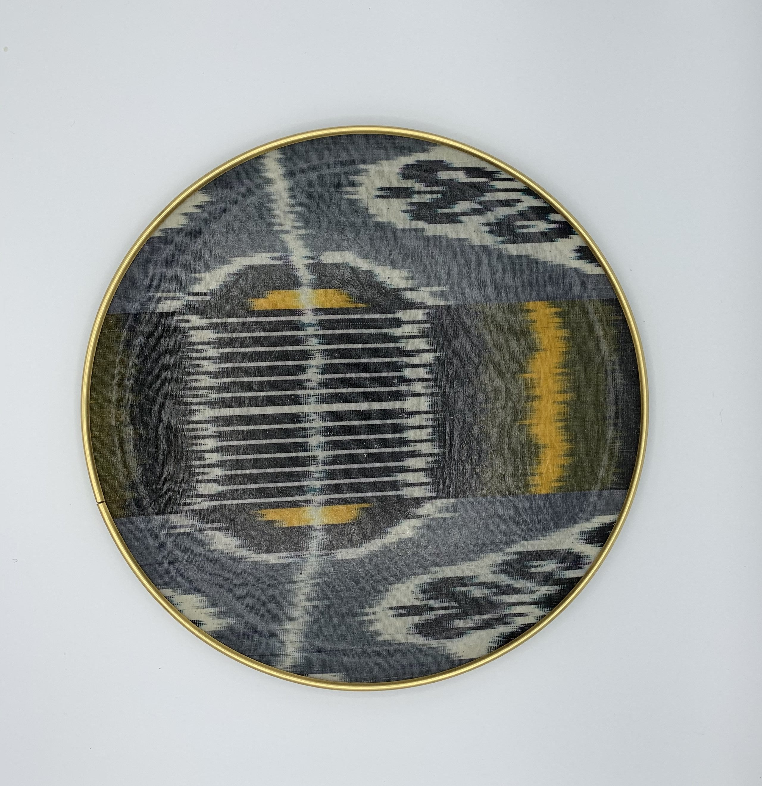 Grey Blue Yellow Silk Ikat Round Tray Design 1