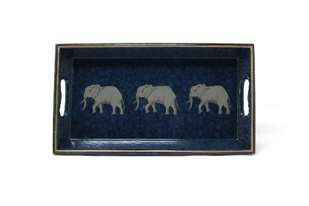 Small Tray, Elephants on Navy and Cobalt