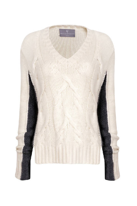 CABLE V NECK CASHMERE SWEATER