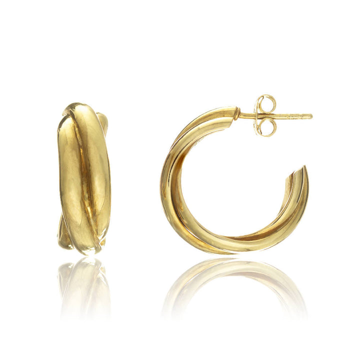 Knightsbridge Yellow Gold Vermeil Triple Hoop Earrings