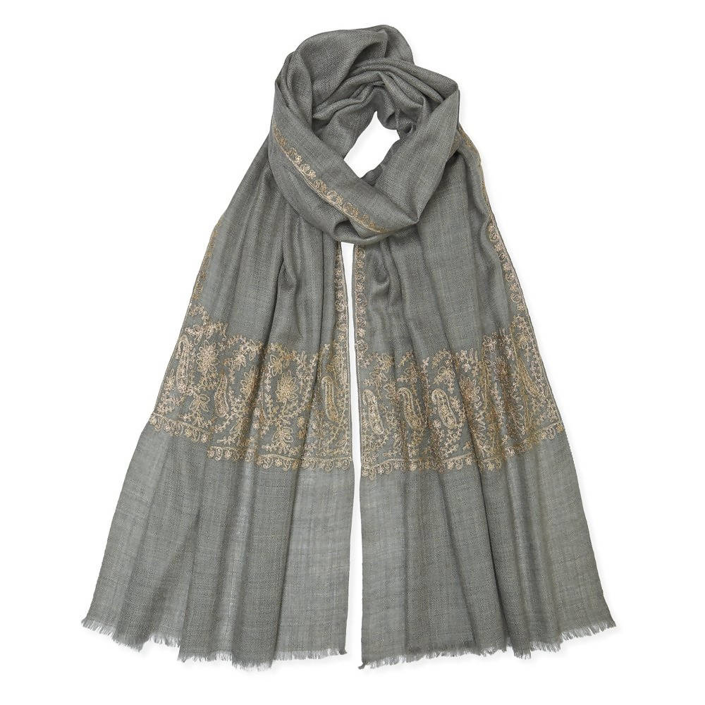 Zari Stitched Border Pashmina - Natural/Gold