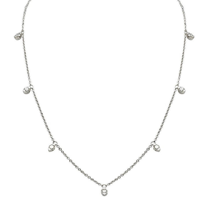 Candor 7 Diamond Necklace (18 ct White or Yellow Gold Link Chain)